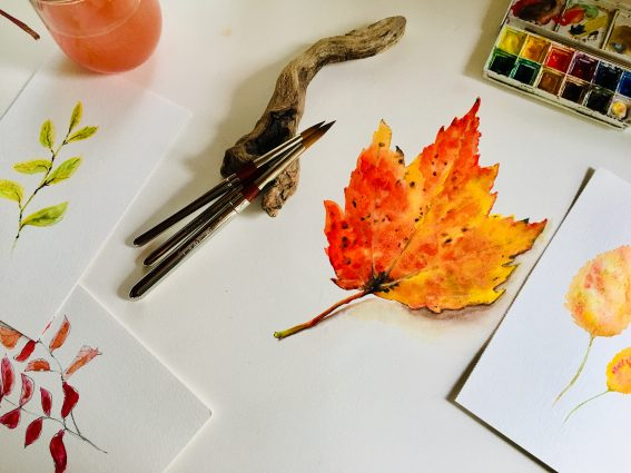 Fall Leaves Watercolor Class